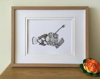 Zentangle Anglerfish Print - Wall art - Home Decor - Zentangle Animal