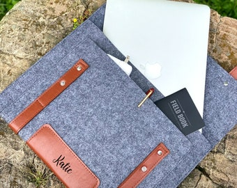 Laptop Bag 13in 14in Personalized, Vegan Leather Macbook Pro 13in Case, Macbook Air 13in Case #029