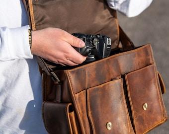 Leather Crossbody Camera Bag, Messenger Camera Bag, DSLR Camera Accessories