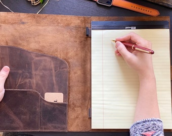 Leather Journal Personalized, Leather Portfolio Large, Leather Padfolio with Business Card Holder #028