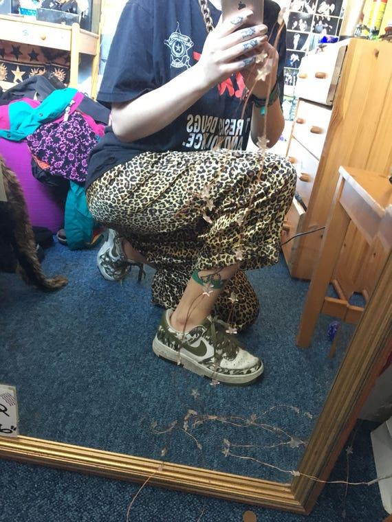 Pantalon imprimé léopard léopard imprimé soyeux fait à la main 6a1bba