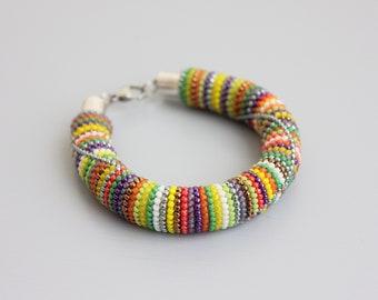 Bead crochet bracelet Green bracelet Rainbow bracelet Yellow bracelet Gift for Her Violet bracelet Orange bracelet Summer mood spring mood