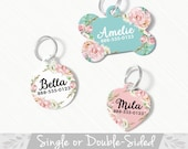 Pet ID Tag, Double Sided Dog Tag for Dog, ID Tag Floral, Custom Pet Tag, French Floral Dog Tag, Personalized Floral Pet Tag