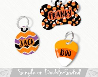 Halloween Dog Tag, Double Sided Dog Tag, Cat Tag, Dog Name Tag, Candy Corn Dog Tag for Dog Collar, Custom Dog Tag, Pet ID Tag, Dog ID Tag