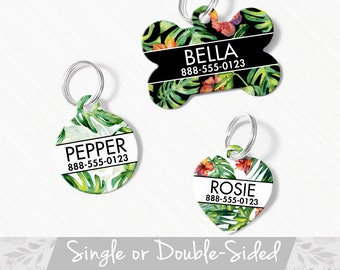 Custom /'Tropic Like It/'s Hot/' Pet ID Tag for Dogs /& Cats Personalized Tropical Palm Leaf Acrylic Tag in Green