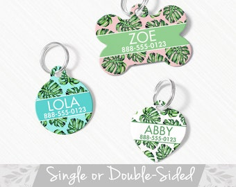 Personalized Tropical Palm Leaf Acrylic Tag in Green Custom /'Tropic Like It/'s Hot/' Pet ID Tag for Dogs /& Cats