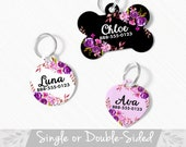 Floral Pet ID Tag, Double Sided Dog Tag for Dog, ID Tag Floral, Round Pet Tag Heart, Personalized Floral Pet Tag, Custom Floral Dog Tag