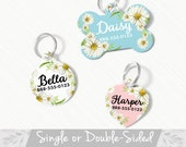 Daisy Pet ID Tag, Double Sided Daisy Dog Tag for Dog, ID Tag Floral, Custom Pet Tag, Daisy Floral Dog Tag, Personalized Floral Pet Tag