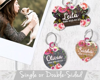 Rustic Floral Dog Tag for Dog, Floral Pet Tag Dog, Personalized Pet ID Tag, Round Pet Tag Heart, Floral Cat Tag Pet ID, Round Dog Tag Floral