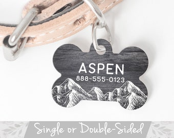 Rustic Dog Tag, Mountain Dog Tag for Dogs, Tag for Boy Dog, Personalized Pet ID Tag for Dog, Double Sided Wilderness Faux Wood Dog Tag Large