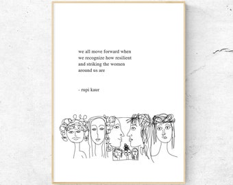 Rupi Kaur Printable Wall Art / Inspirational Quotes / Feminism Poster /  Poetry Gift For Her / Digital Prints / Wall Decor / Instant Download