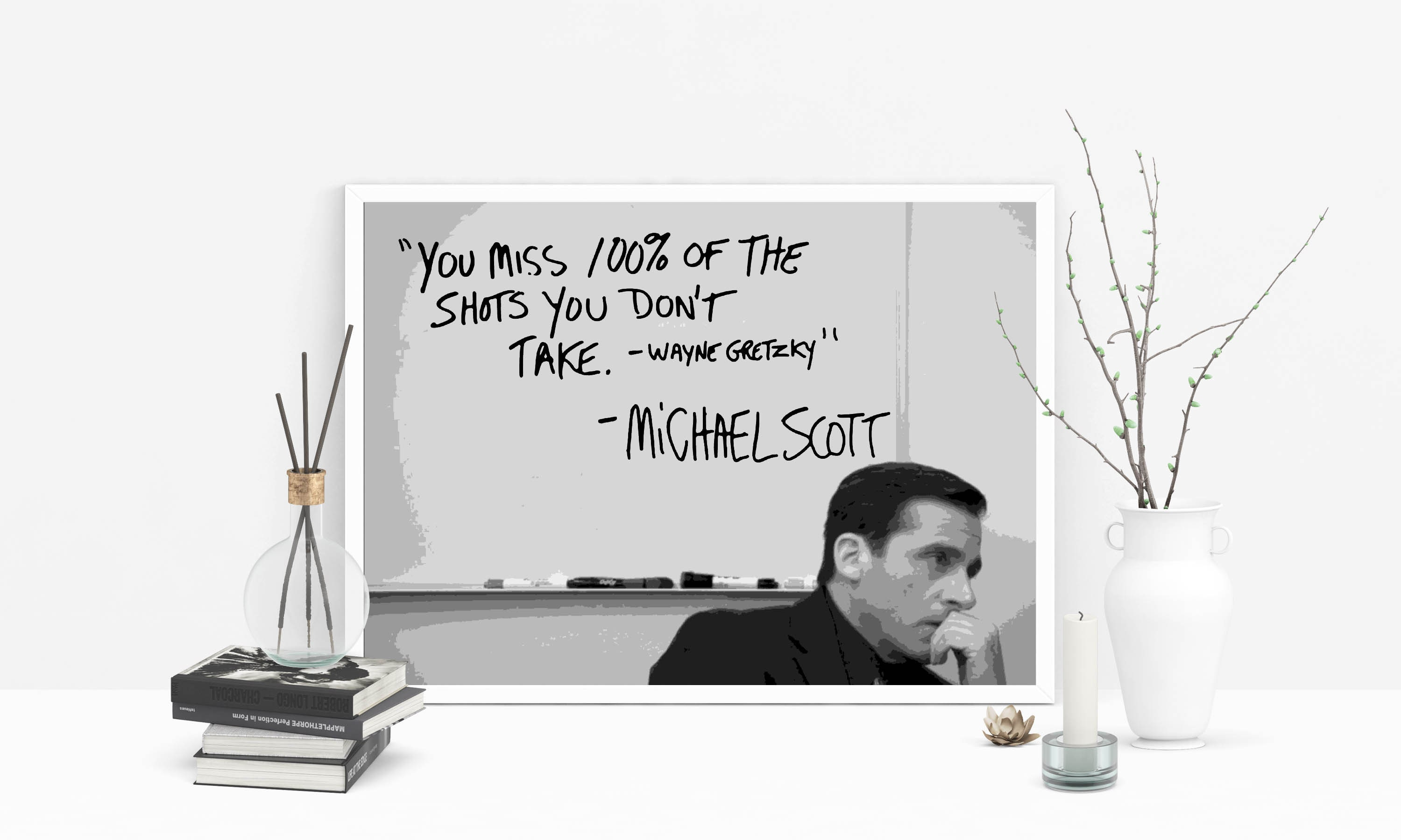 Michael Scott The Office TV Show printable wall art / You Miss 100% of the  Shots You Don't Take / Inspirational Wall Art One Hundred Percent