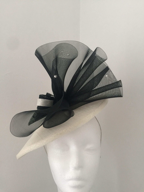 Black and ivory fascinator wedding hat hatinator saucer hat  443f45de0c1