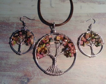 Tourmaline Tree of Life Necklace & Earring Set