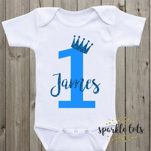 Personalised 1st Birthday Vest Boys Cake Smash Baby Boy 1 One Romper First Gift ANY AGE
