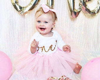 1950d8cc30 Baby tutu first 1st Birthday outfit birthday pink personalised gold glitter  one bow headband photo prop cake smash personalised custom girls