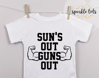 kids suns out guns out tank top funny summer tee tshirt boys girls toddler youth