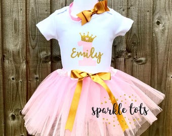 Girls 1st Birthday Outfit First Baby Personalised Tutu Set Grow Onesie