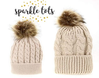 Chunky knit pom pom hats Mother   Baby Daughter Son Winter Warm Hat Cap  Cotton Knitted Bobble Parent-Child Hats matching mummy and me c39a220570a2