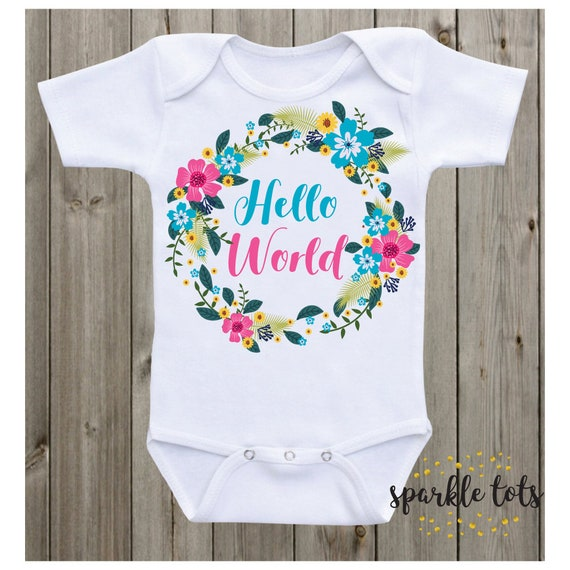 d116263a0 Hello World Baby Onesie Take home outfit coming home baby vest