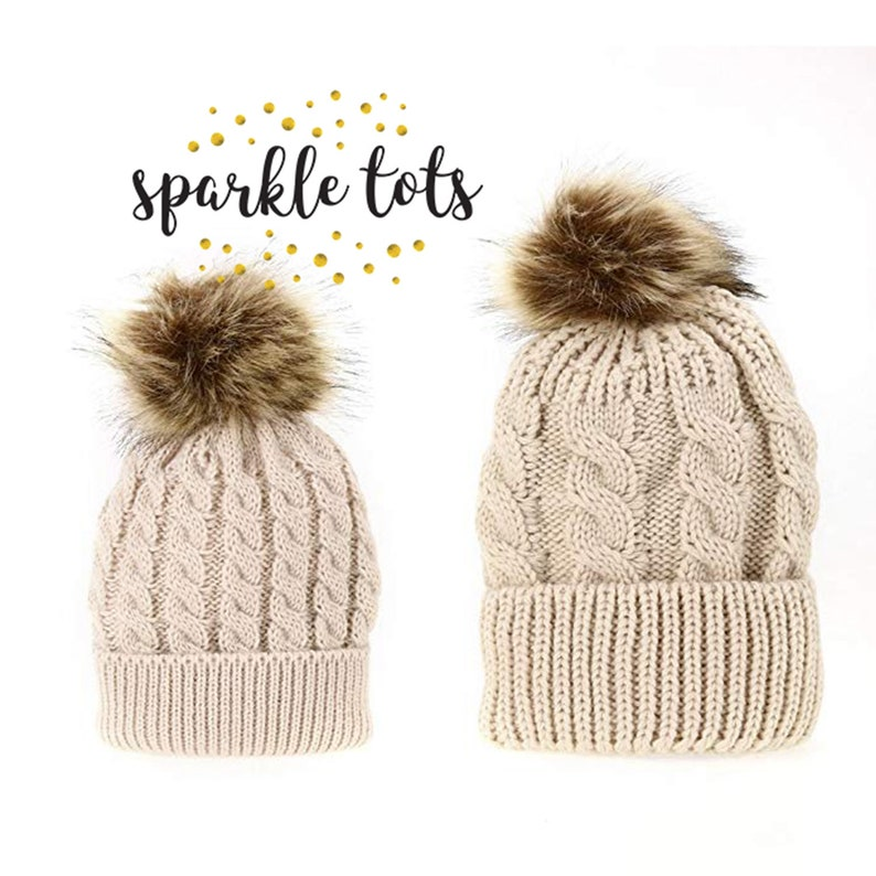 8c4e9bfbe6e Chunky knit pom pom hats Mother   Baby Daughter Son Winter
