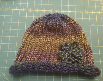 Adult Slouchy Hat with Flower