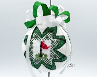 Golf Flag Cross Stitch Ornament, Gift for Golfer, Sports Gift, Quilted Ornament, Flag Stick, Fabric Ornament