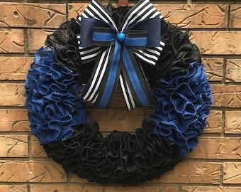 Police Officer Burlap wreath, Thin Blue Line wreath, Burlap Ruffle Wreath, Law Enforcement,  First Responder wreath, Gift for Policeman