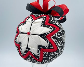 Handmade Quilted Ornament, Black White Red Quilted Flower Ornament, White Flower Petals