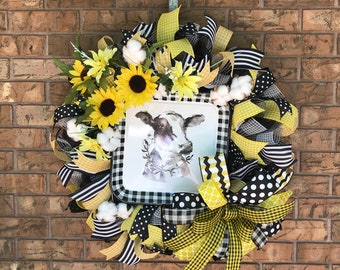Cow wreath, Sunflower, Country, Buffalo Plaid, Cow picture, Country decor, Yellow wreath, Cotton Farmhouse,