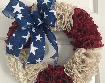 Red White and Blue Patriotic Burlap wreath, Memorial Day Decor, New Home Gift, All Seasons Wreath, Everyday Wreath, Ribbon Ruffle, Military