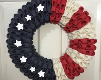 Patriotic Wreath, Flag Wreath, Burlap Flag, Folded Burlap wreath, All American wreath, Red White Blue wreath, Military wreath, Veteran Flag