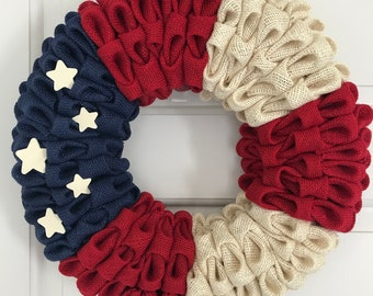 Patriotic Wreath, Flag Wreath, Burlap Flag, Folded Burlap wreath, All American wreath, Red White Blue wreath, Military wreath, Veteran