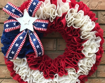 Red White Blue Wreath, Patriotic Burlap, Memorial Day Decor, New Home Gift, Big Bow Wreath, Everyday Wreath, Ribbon Ruffle, Military