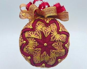 Burgundy and Gold No Sew Ornament, Everyday Gift, Quilted ornament, Fabric ornament, Everyday Decor, Decorating with ornaments