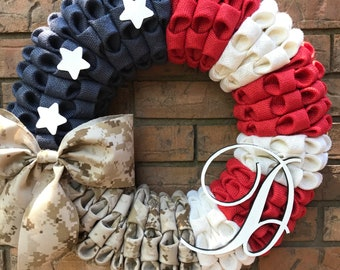 Patriotic Wreath, Military wreath, Monogram wreath, military service decor, Folded Burlap Wreath