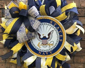 Navy Logo, Miitary wreath, Veteran Wreath, Memorial wreath, Yellow Navy White wreath