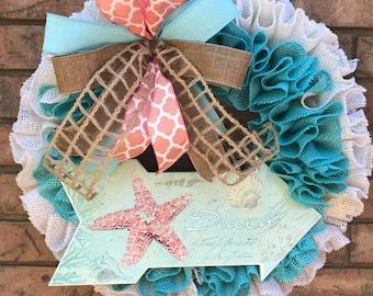 Burlap Wreath, Beach Party Burlap, Beach Decor, New Home Gift, Summer Wreath, Everyday Wreath, Ribbon Ruffle, Sun Sand Water wreath