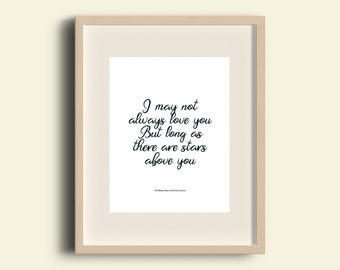A4 Print Beach Boys -God Only Knows lyrics - 'I may not always love you, but long as there are stars above you'