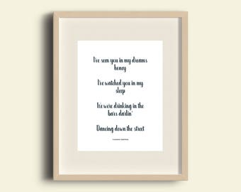 A4 Print Courteeners - Small Bones lyrics - 'I've seen you in my dreams honey, watched you in my sleep.'