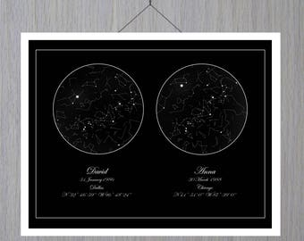 Custom Sky Print, Wedding day, Constellation Map, Custom Sky Map, Star Map By Date, Star Map Personalized, Sky Map Poster Space,  Mother Day
