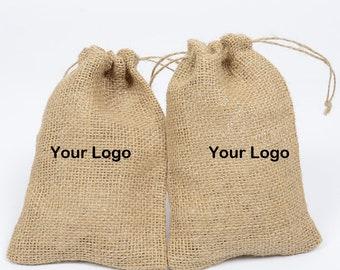 50 Pcs Pack  Customed Jute Bags,Rustic Wedding Favor Bags,Burlap Bags For Nuts Storage