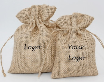 50 Pcs Pack  Customed  Natural Burlap Bags,Jewelry Pouches With Drawstring Wedding Favor Holder,Jute Bags