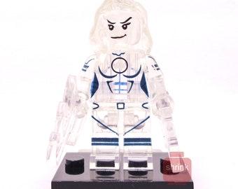 Custom INVISIBLE WOMAN Inspired Minifig Blocks Fantastic Four Marvel Transparent  Uk Seller