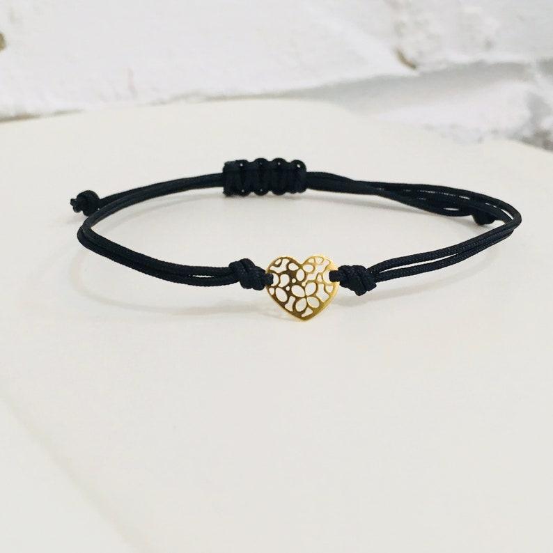 bracelet women black string gold Heart gold string infinity adjustable handmade good luck gift charm solid gold 14k string bracelet