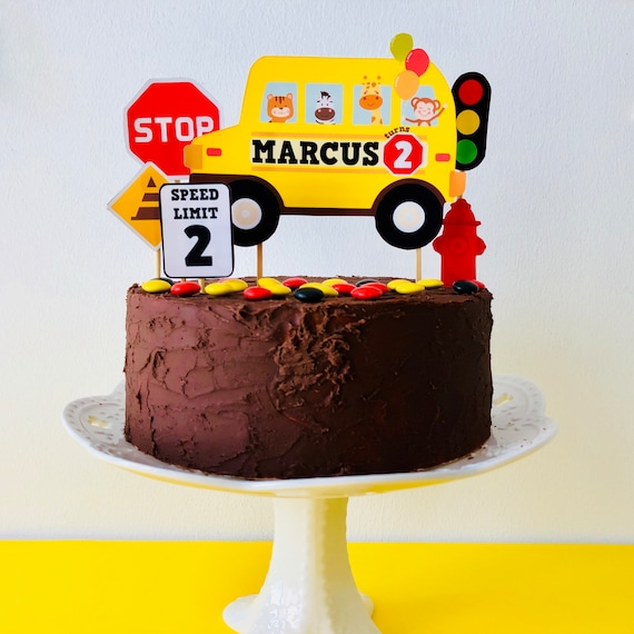 Admirable Wheels On The Bus Cake Topper Wheels On The Bus Birthday Cake Etsy Personalised Birthday Cards Cominlily Jamesorg