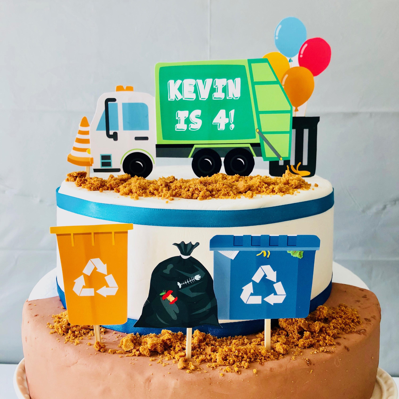 Sensational Garbage Truck Birthday Cake Topper Waste Management Birthday Etsy Personalised Birthday Cards Veneteletsinfo