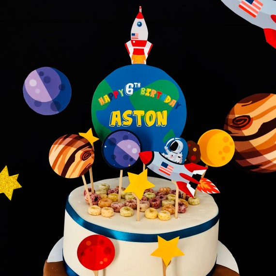 Enjoyable Space Birthday Cake Topper Galaxy Themed Party Cake Topper Etsy Funny Birthday Cards Online Sheoxdamsfinfo