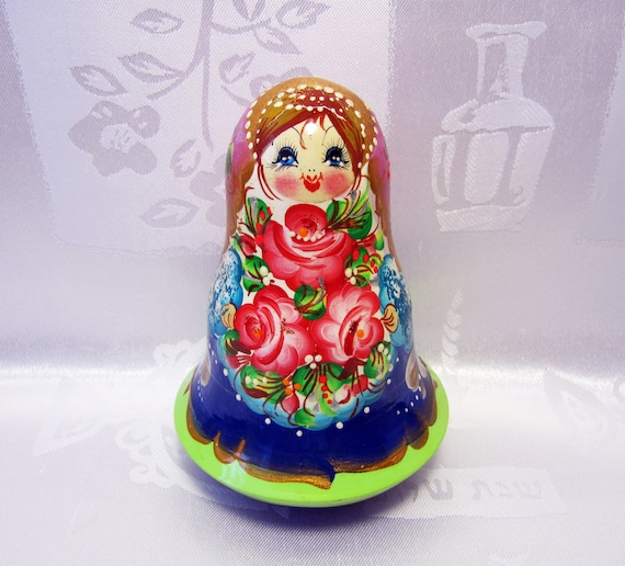 "musical. Roly Poly wooden blank /""Nevalyashka-Egg/"" Russian tumbler doll"