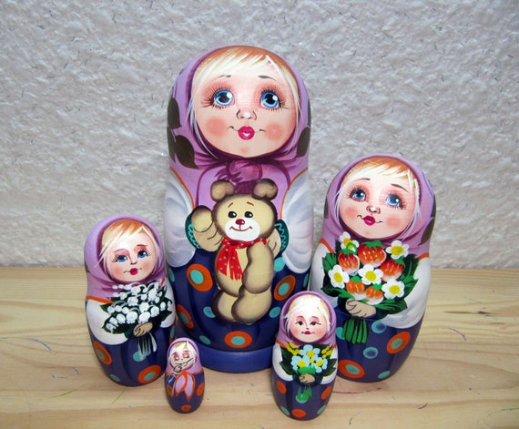 Matryoshka Russian Nesting Doll Wooden Babushka Beautiful Sunflowers 5 Pieces